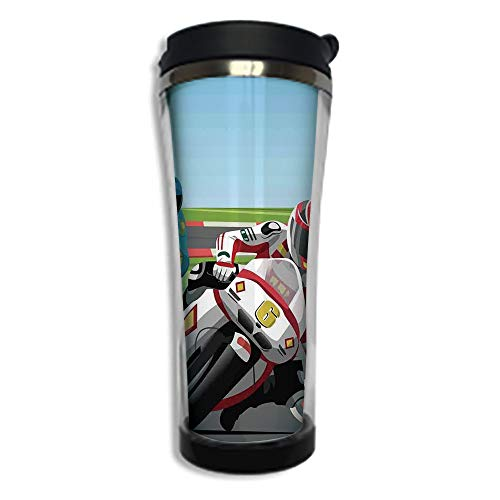 (Travel Coffee Mug 3D Printed Portable Vacuum Cup,Insulated Tea Cup Water Bottle Tumblers for Drinking with Lid 14.2oz(420 ml)by,Motorcycle,Professional Motorcycle Riders Racing in A Championship on Cl)