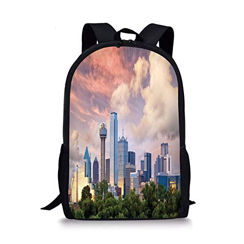 School Bags United States,Dallas City Skyline at Sunset