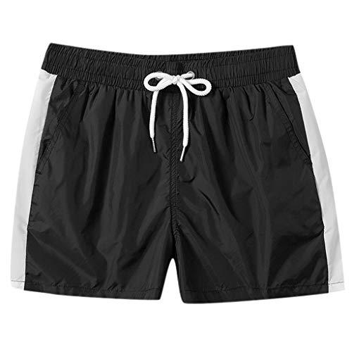 Goddessvan Mens Swim Trunks Board Short Swimming Athletic Box Swimwear Briefs with Zipper Pockets Black
