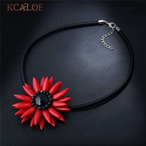 Female Big Flowers Choker Necklaces | Pendants Black Rope Colorful Natural Stone Crystal Necklace for Women (red Stone)