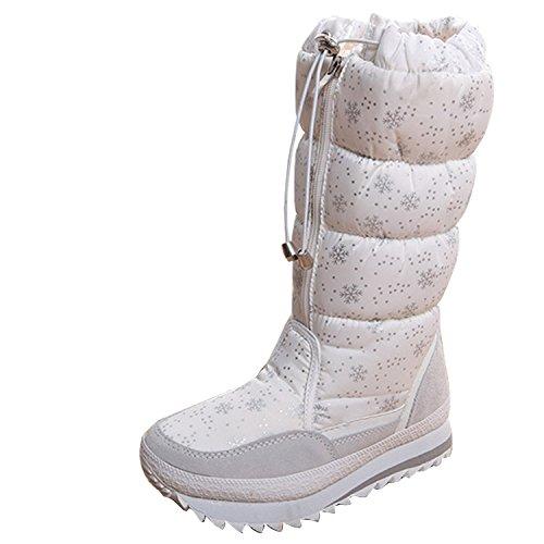Scarponi Da Neve Invernali Da Donna, Comfort, Punta Rotonda, Metà Polpaccio, Stivaletti Alti Alla Caviglia Eskimo, Bianchi