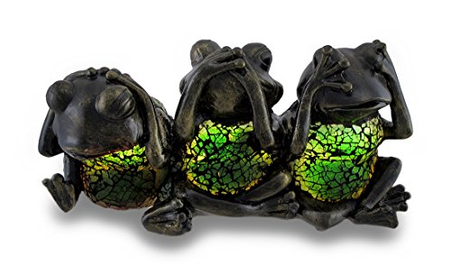 Accent Frog Lamp (Zeckos Glass Childrens Night Lights No Evil Frogs Green Crackle Glass Accent Lamp 11 X 5.5 X 4.5 Inches Green)