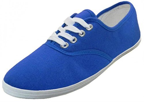 Easy USA Womens Lace Up Canvas Plimsol Sneakers Shoes (10 B(M) US, Royal Blue)