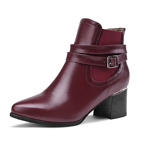 Allhqfashion Womens Pull-on A Punta Chiusa Gattino-tacchi Pu Low-top Stivali Claret