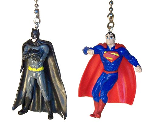 Batman & Superman Justice League Ceiling Fan Pull Set by Wooden Androyd Studio (Batman Standing & Superman) -