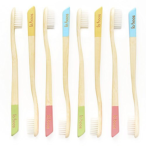 LaBoos Bulk Colorful Kids Bamboo Toothbrushes,Best Nature Manual Travel Toothbrush, New Extra Soft Compact Bristle Gum Toothbrush,Best Toothbrush For Gingivitis And Sensitive teeth (8PCS(6.9))
