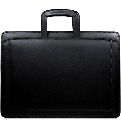 Double Gusset Top Zip Leather Briefcase in Black (Jack Georges Brief Bag)