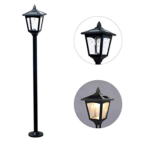 1 Garden Vintage (42inches Mini Street Vintage Lamp Post Solar Lamp Garden Outdoor Light Lawn - Adjustable (Clear))