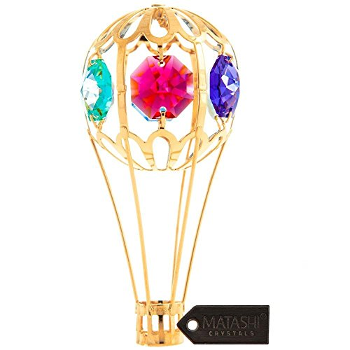 Matashi Hot Air Balloon Ornament 1, Gold with Colored Crystals