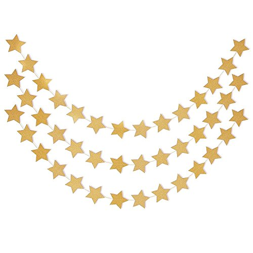 Gold Glitter Twinkle Star Garland - Sparkling Paper Banner Bunting Hanging Decoration Party Supplies - 13 Feet ( 2 Pcs ) Gold Star Garland
