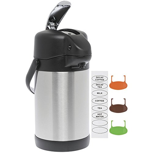 HUBERT Airpot Coffee Server with Lever Pump 3 Liter All Stainless Steel ()