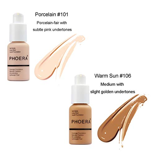 - 2 Pcs Oil Control Concealer Foundation Cream,Long Lasting Waterproof Liquid Foundation 30ml