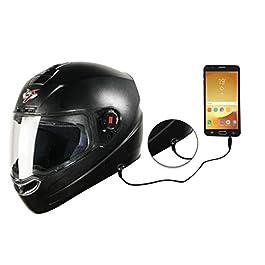 Steelbird SBA-1 7Wings Handsfree Dashing Helmet For Ladies/Girls with Detachable Handsfree device (Medium 580 MM, Black…