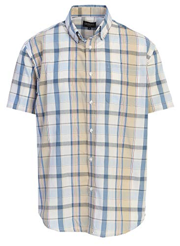 - Gioberti Men's Plaid Short Sleeve Shirt, White/Khaki/Red Line/Blue Gradient, Medium