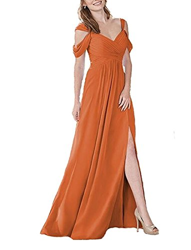 Damen mit Schlitz Line Orange Abschlusskleider Brautjungfernkleider A Lang Abendkleider Chiffon xgOSnw1Zqg