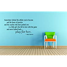 Top Selling Decals - Prices Reduced : Best Selling Cling Transfer : Play For her Gymnastics Basketball Soccer Track Baseball Softball Volleyball Tennis Wall Sticker Size : 20 Inches X 25 Inches - 22 Colors Available