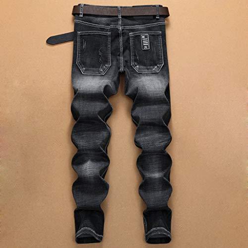 Jeans Coton Xmiral En Broderie Homme Pantalon Trou Noir Droite Denim Poche xCqqwAOY