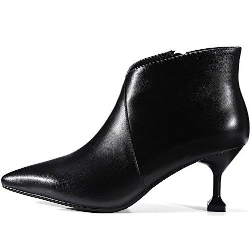 Saapikkaat Seksikäs Korkea Aitoa Käsityönä Naisten Nilkan Pentu Pukeutuminen Teräväkärkiset Kengät Musta Kantapää Tyylikäs Yhdeksän Seitsemän Nahkaa UzROqR6w