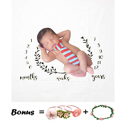(WOLUNWO Baby Monthly Milestone Blanket with 3 Headband and Frame Photo Prop Backdrop for Newborn Boy Girl 40