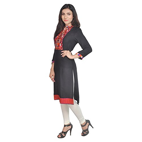 Chichi Indian Women Kurta Kurti 3/4 Sleeve Medium Size Plain with Jaipuri Embroidered Straight Black Top by CHI (Image #2)