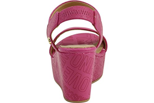 Love Moschino Women's Embossed Logo Fuchsia Wedge Heels Sandals Shoes Sz: 8 by Love Moschino (Image #2)