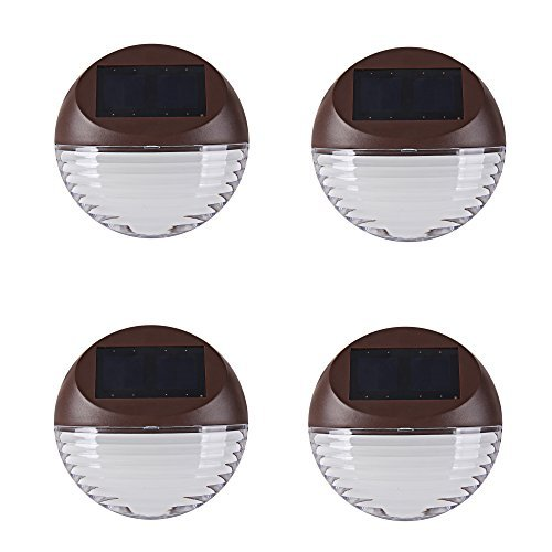 Kinna 4-Pack Brown Solar LED Fence Lights Waterproof Wall Mount Deck Warm White Lights