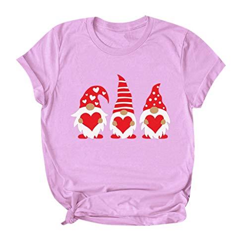 [해외]Valentines Day T-Shirt Buffalo Plaid Heart Tops Tees Gnome Print Shirts Graphic Tee for Women / Valentines Day T-Shirt Buffalo Plaid Heart Tops Tees Gnome Print Shirts Graphic Tee for Women