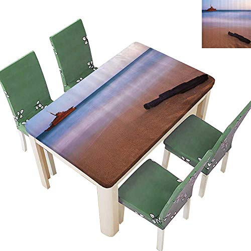 Printsonne Polyester Fabric Tablecloth Shipwreck ACH Dusk in South Australian Lands by The Sea Shore Navy Nautical Suitable for Home use 52 x 108 Inch (Table Rattan Rattan Sea South)