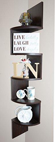 Adorn Home Essentials| Corner Zig Zag Wall Mount Shelves| 5-Tier, Walnut Finish by Adorn Home Essentials (Image #2)