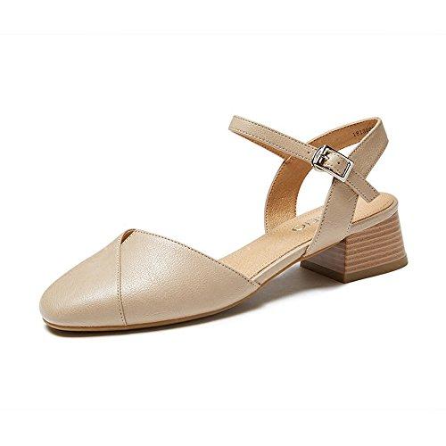 Casual Con Xzgc Primavera Verano Baotou La Sandalias El Gruesas Mujer Gris Cómodos Hollow Zapatos Y wwOxz