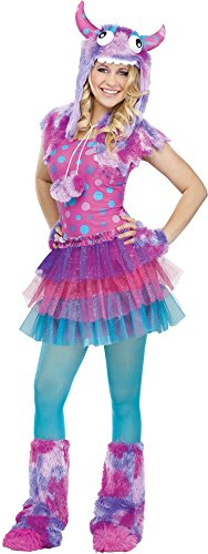 Fun World Costumes Women's Polka Dot Monster Teen Costume, Pink/Blue, One Size -
