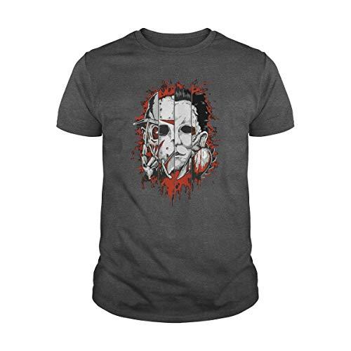Zinko Men's Freddy, Jason, Michael, Thomas Face Horror Halloween T-Shirt (3XL, Dark Heather) ()