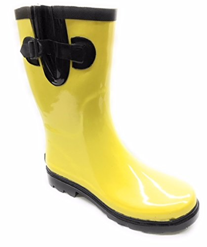 Forever Young Women Rain Boots, Mid-Calf 11'' Rubber Booties Black/Yellow