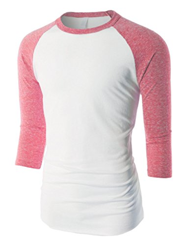 Mens Raglan T Shirts Tri Blend 3/4 Sleeve Baseball Tee Jersey (Small, Tri White/Red) (Baseball Belle Jersey)