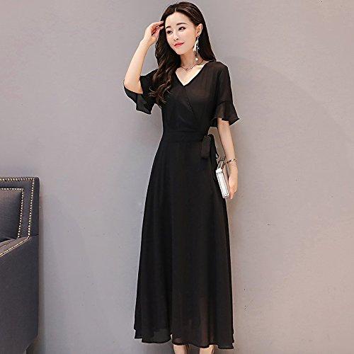 noiratre Longue Argent Pure Femme Jupe de Robe temprament Robes Color col Zhong au 3XL Jupe MiGMV Genou Slim V Xia Mousseline Vert Long wBPaIq