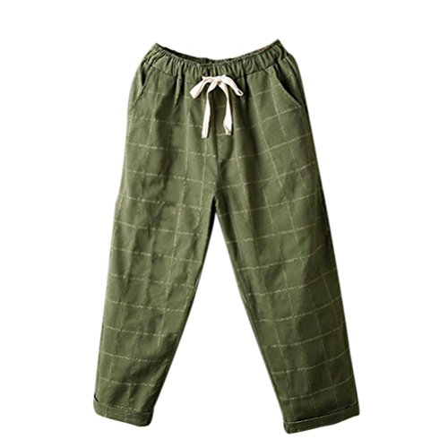 Pervobs Women Pants, Clearance! Womens Casual Loose High Waist Elastic Waist Striped Lattice Harem Pants Trousers (M, Army Green) by Pervobs Women Pants