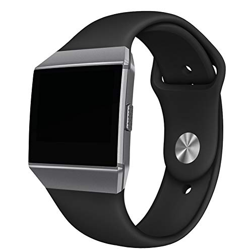 NAHAI Compatible Fitbit Ionic Bands, Soft Silicone Replacement Strap Accessory Breathable Wristbands for Fitbit Ionic Smart Watch, Small, Black