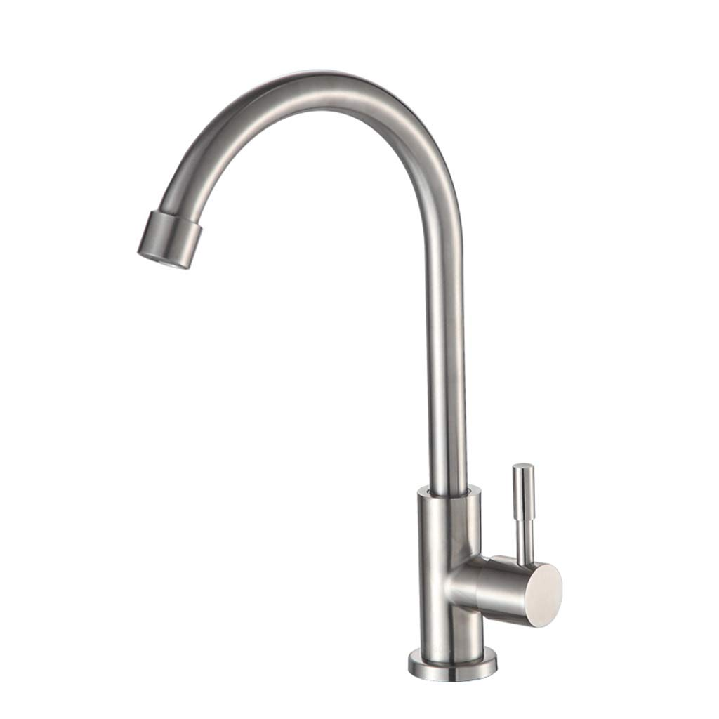 Yxx max Bathroom Kitchen Faucet Single Cold Sink Faucet Stainless Steel 360° Faucet