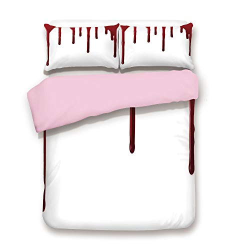 Pink Duvet Cover Set,FULL Size,Flowing Blood Horror Spooky Halloween Zombie Crime Scary Help me Themed Illustration,Decorative 3 Piece Bedding Set with 2 Pillow Sham,Best Gift For Girls Women,Red Whit