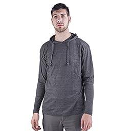 ARCTIC POLE Mens Lightweight Tri Blend Hoodie Tee Shirt NO Pockets Large, Charcoal