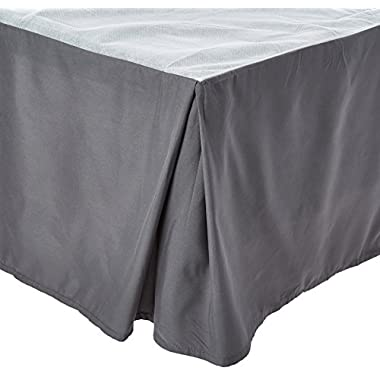 Clara Clark A Premier 1800 Collection Solid Bed Skirt Dust Ruffle, Queen, Charcoal Gray