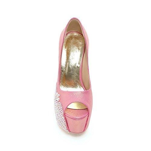 5d85142184f9 ... Minivog Femmes Bout Ouvert Plate-forme Chaussures À Talons Hauts Rose  ...