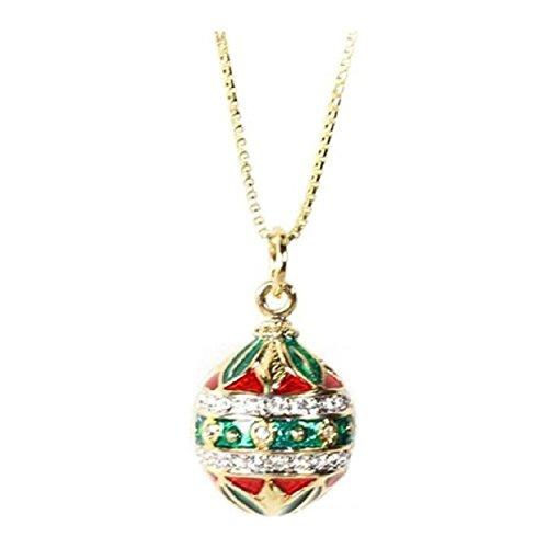 (Gold Finish Round Red Green Enamel Crystal Festive Egg Pendant Necklace, 20