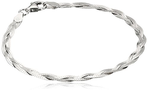 Herringbone Chain Bracelet - Italian Sterling Silver Three-Strand Braided Herringbone Chain Bracelet, 7.5