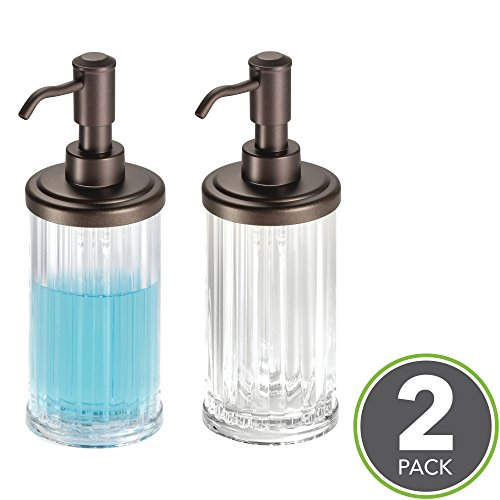 Soap Acrylic (mDesign Fluted Refillable Liquid Soap Dispenser Pump Bottle for Kitchen Sink, Bathroom Vanity Countertops: Holds Hand Lotion & Essential Oils - Pack of 2, Clear Plastic, Steel Pump Head in Bronze)