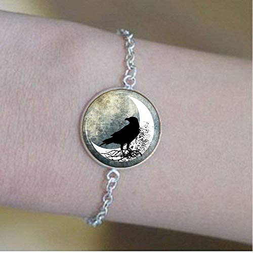 Vintage Raven Bracelet, Spooky Black Bird in Half Moon Art Jewellery