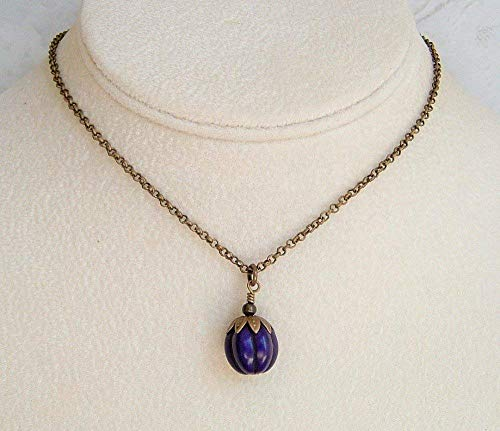 Dark Purple Howlite Carved Pumpkin Pendant 18 Inch Antique Brass Necklace Gift Idea -