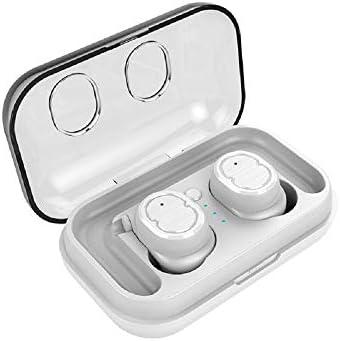 Cetengkeji ワイヤレスヘッドフォン、ブルートゥース5.0ミニイヤホン(合計15時間プレイタイム)ステレオイヤホンポータブルスポーツ双子ヘッドセットノイズアイソレーション(iOS用、Android用) (Color : White)