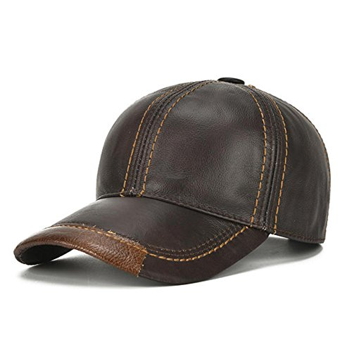 HSRT Mens Cowhide Leather Solid Adjustable Baseball Cap Casual Cosy Sunshade Sport Cap (Solid Genuine Leather Baseball Cap)