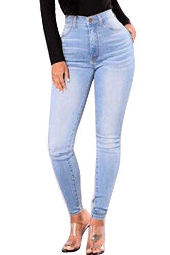 Vita Lavato Donna Jeans Alta Matita Blu Direttamente Simgahuva Pantaloni qEtw1vE